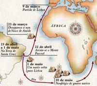 Kaart met route Cabral