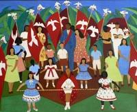 Schilderij vlaggen en mensen