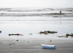 Foto strand met piepschuim bootje en bloemen