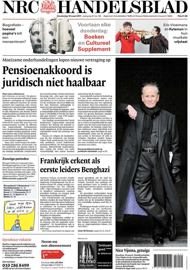 Voorpagina NRC 10 maart 2011