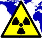 Wereldkaart met stralingssymbool