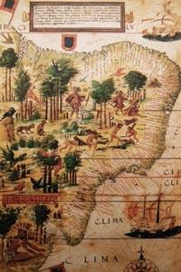 Kaart van Brazilië met indianen
