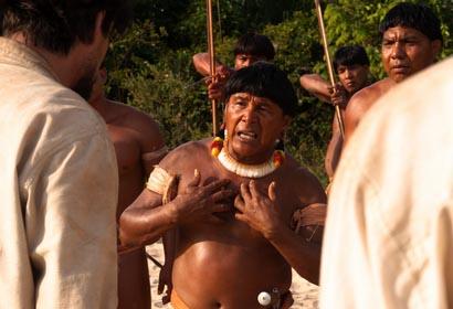 Beeld eerste ontmoeting indianen en blanken