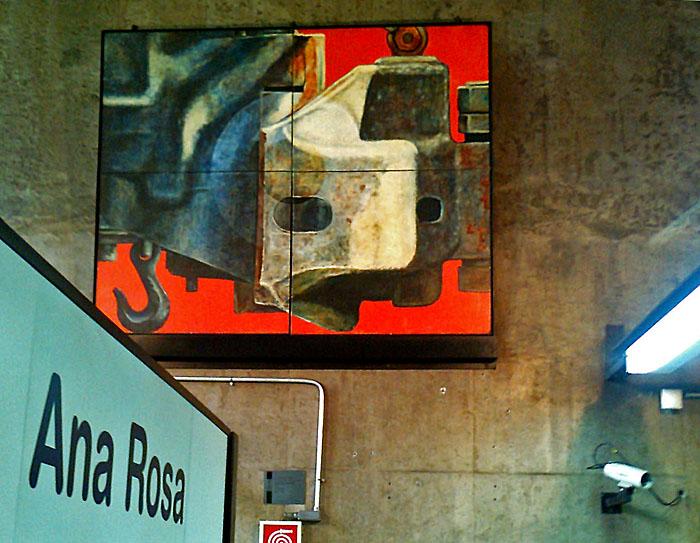 Foto van schilderij aan muur metro