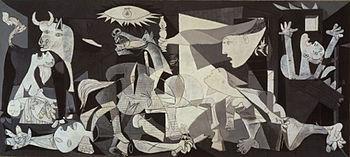 Detail van Picasso's schilderij Guernica