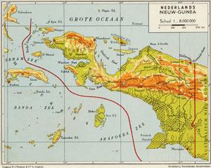 Kaart van Nederlands Nieuw-Guinea