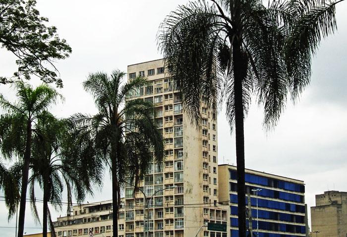 Foto van saaie torenflat achter palmen