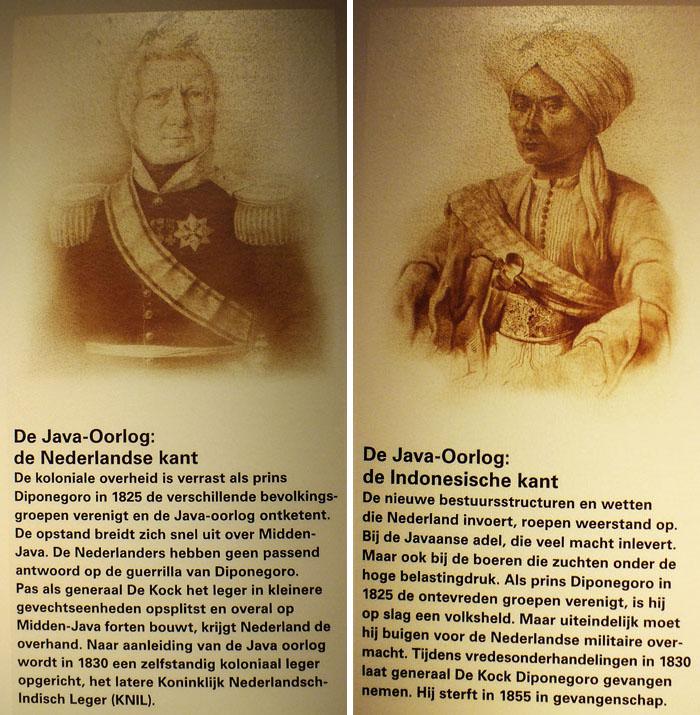 Afbeelding generaal De Kock en prins Diponogoro en teksten met Nederlandse en Indonesische kant