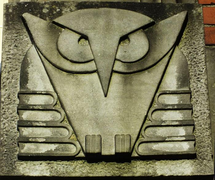 Foto van stenen afbeelding van uil