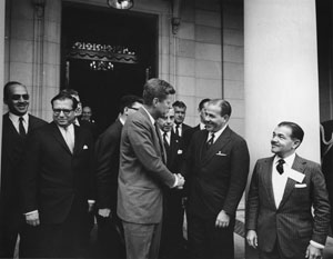 Foto van president Kennedy met president Goulart