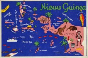 Ansichtkaart met kaart van Nieuw-Guinea