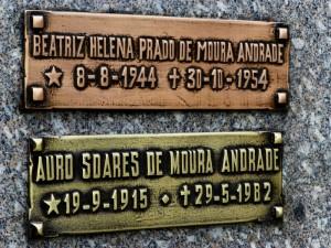 Foto van naambordjes op het graf