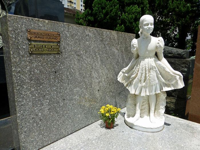 Foto van graf met beeld van meisje