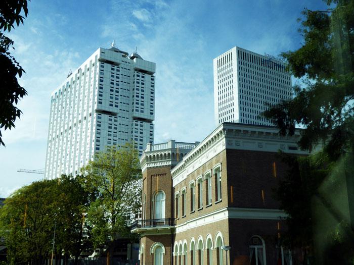 Foto van oude en nieuwe gebouwen