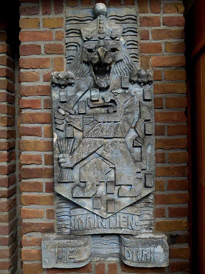 Foto gevelsteen met leeuw