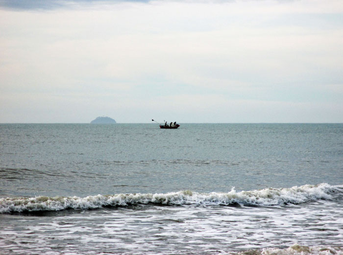 Foto van bootje op zee