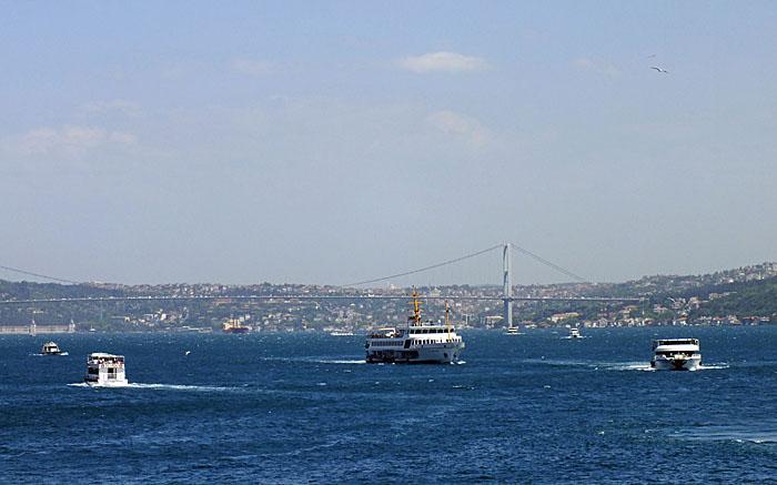 Foto van schepen op de Bosporus