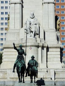Foto van standbeeld voor em met Cervantes