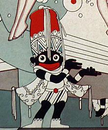 Detail van tekening met 'Zwarte Piet'