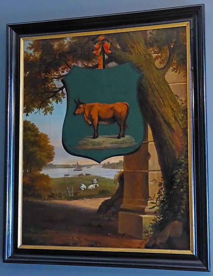 Foto van schilderij met wapenschild en landschap