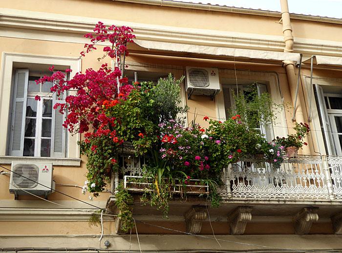 Foto van balkon met bloemen en planten