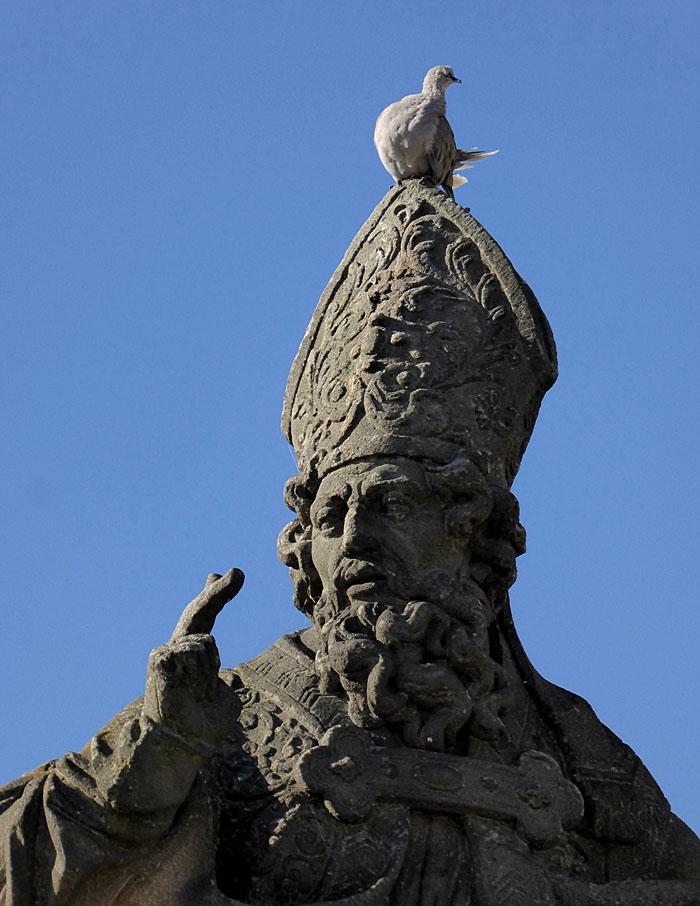 Foto van heiligenbeeld met duif op mijter