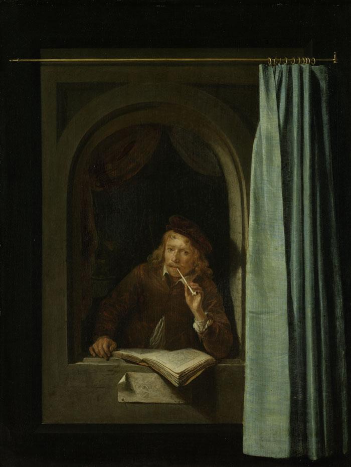Schilderij van pijprokende man