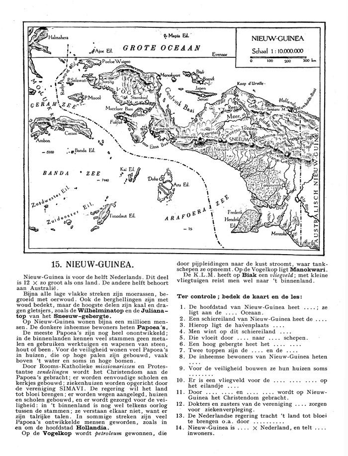 Bladzijde uit aardrijkskundeboek met kaar Nederlands Nieuw-Guinea