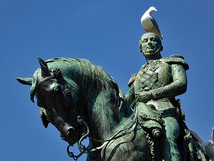 Foto van beel van Willem II te paard met meeuwen