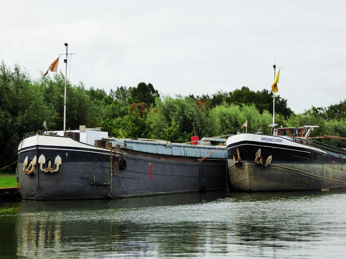 Foto van rivierschepen aan kade