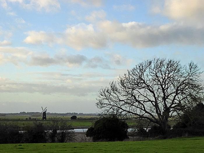 Foto van landschap met windmolen