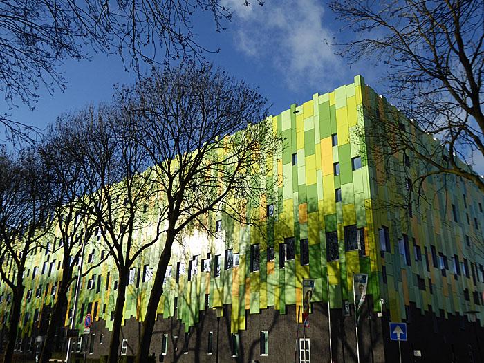 Foto van kale bomen voor groen gebouw
