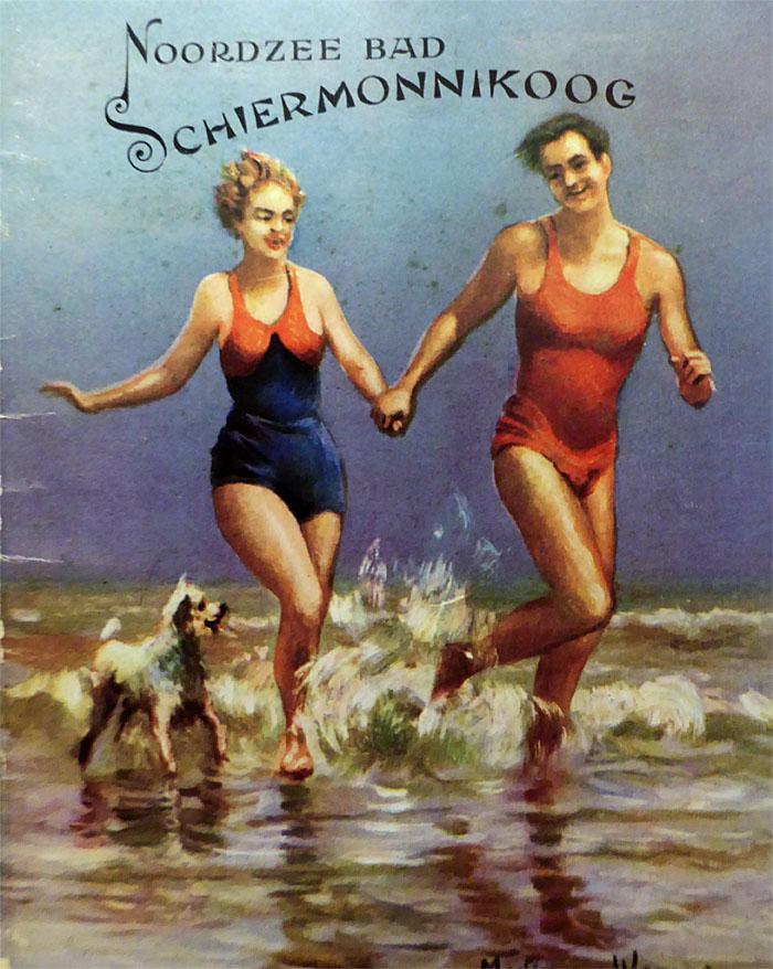 Foto van poster met jong paar en hondje aan strand