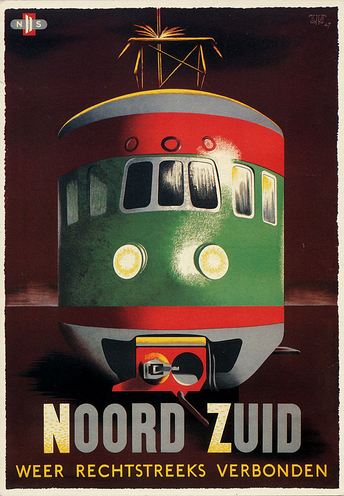 Postkaart van NS-affiche