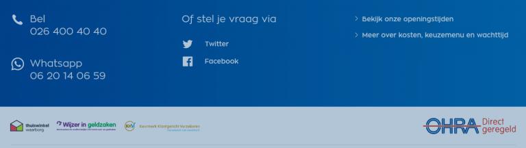 Screenshot contactgegevens Ohra