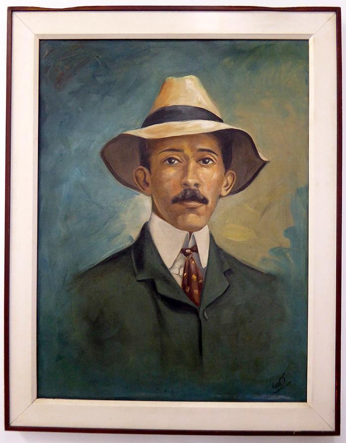 Foto van schilderij van Santos-Dumont