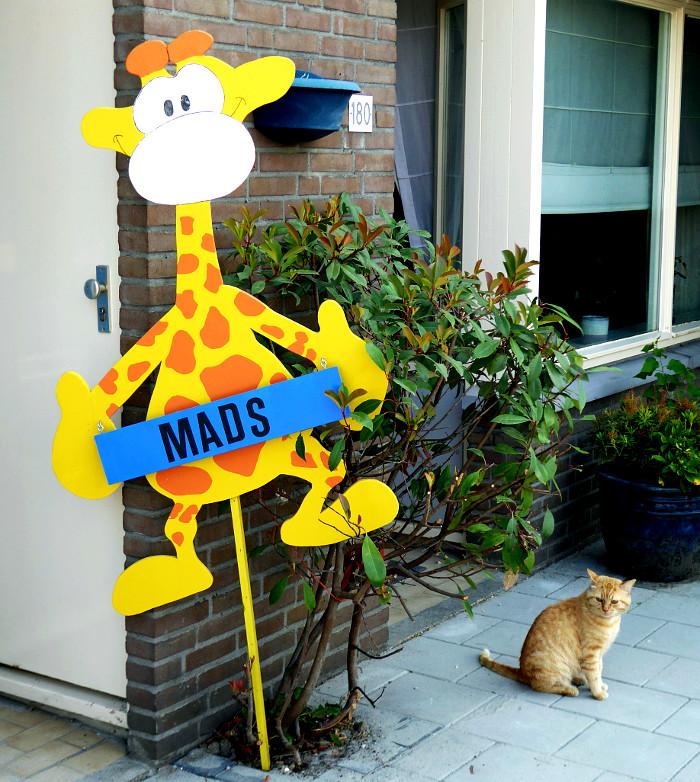 Foto van kat en kartonnen giraf