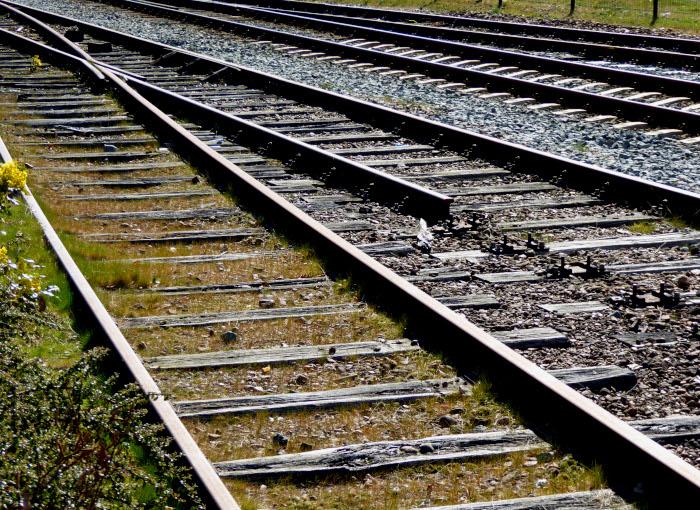 Foto van spoorrails