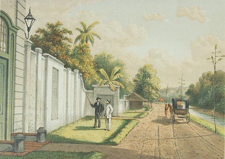 Litho van muur van terrein van Eberveld
