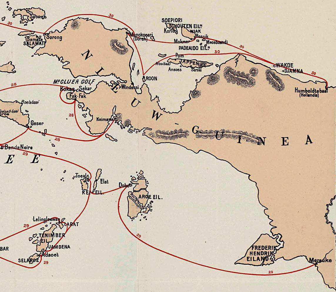Afbeelding van kaart met routes. Detail van kaart op Wikipedia: https://nl.wikipedia.org/wiki/Koninklijke_Paketvaart_Maatschappij