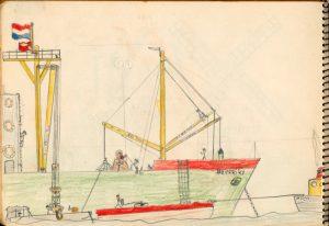 Tekening van schip met laadbomen