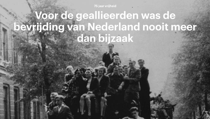 Screenshot van artikel Trouw: mensen op tank bevrijders