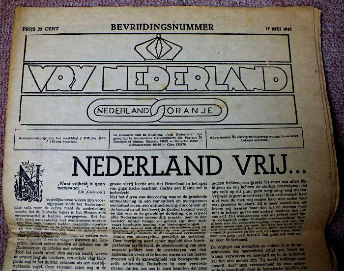 Foto van bevrijdingsnummer van Vrij Nederland 1947