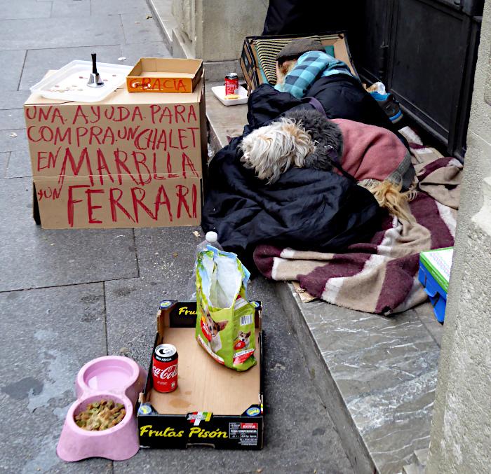 Foto van slapende dakloze