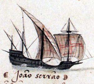 Historische afbeelding van caravela (Wikipedia)