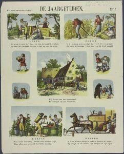 De jaargetijden op een centsprent rond 1800