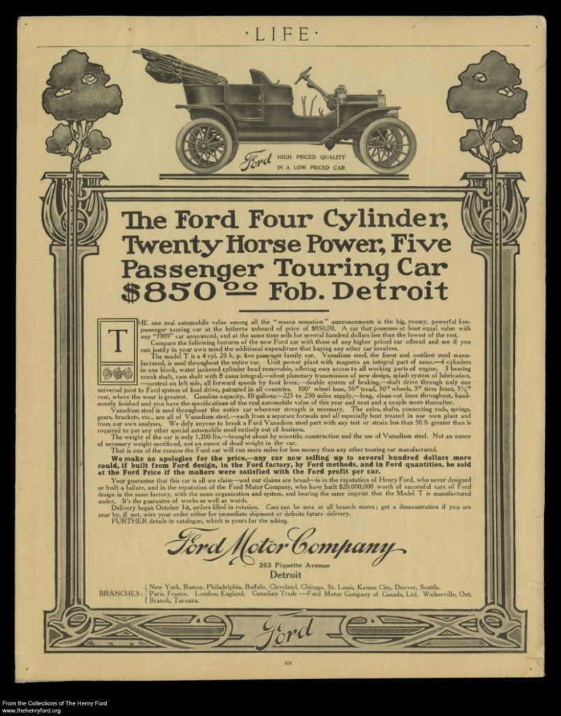 Advertentie voor Ford model T