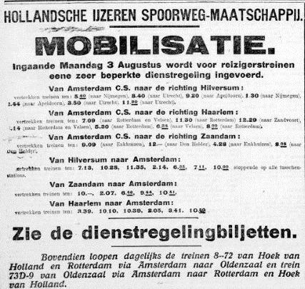 Krantenbericht over de spoorwegen en mobilisatie