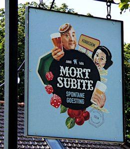 Foto van reclamebord voor biermerk Mort subite