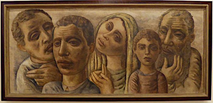 Foto van schilderij van emigrantenfamilie